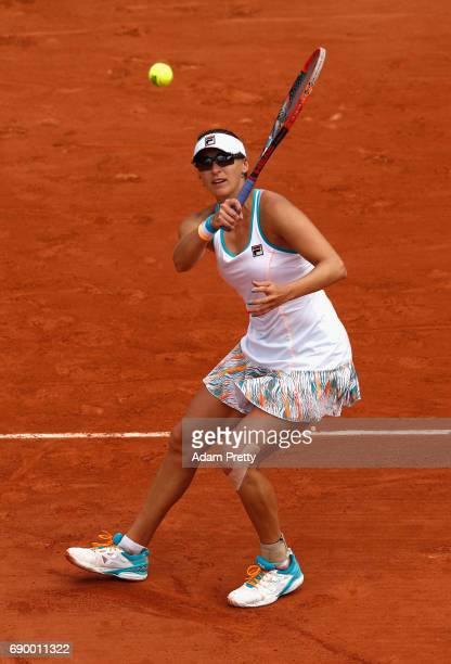 Yaroslava Shvedova of Kazahstan returns the ball during the ladies singles first round match against Elina Svitolina of Ukraine on day three of the...