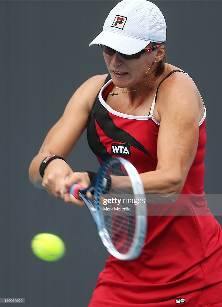 Yaroslava Shvedova of Kazakhstan plays a backhand in her first round match against Lourdes Dominguez Lino of Spain during day four of the Hobart International at Domain Tennis Centre on January 7, 2013 in Hobart, Australia.
