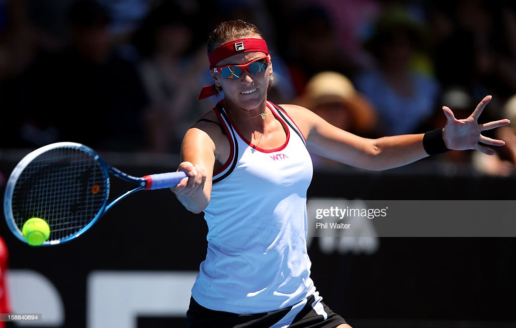 Yaroslava Shvedova of Kazakhstan plays a forehand in her first round match against Lara Arruabarrena-Vecino of Spain during day two of the 2013 ASB Classic on January 1, 2013 in Auckland, New Zealand.