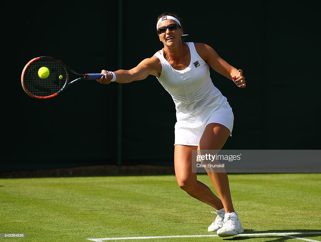 <a gi-track='captionPersonalityLinkClicked' href=/galleries/search?phrase=Yaroslava+Shvedova&family=editorial&specificpeople=5407439 ng-click='$event.stopPropagation()'>Yaroslava Shvedova</a> of kazakhstan plays a forehand shot during the Ladies Singles first round match against Julia Georges of Germany on day one of the Wimbledon Lawn Tennis Championships at the All England Lawn Tennis and Croquet Club on June 27th, 2016 in London, England.