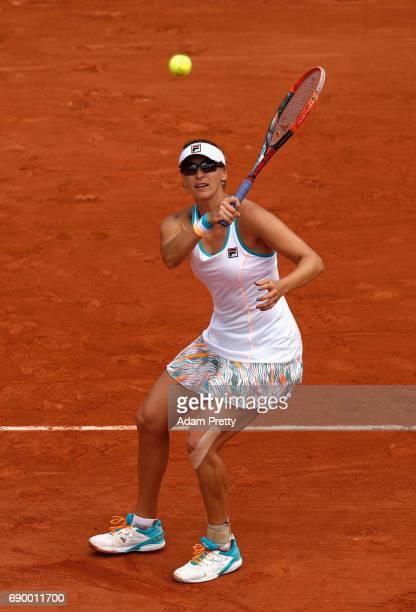 Yaroslava Shvedova of Kazakhstan returns the ball during the ladies singles first round match against Elina Svitolina of Ukraine on day three of the...