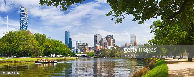 Yarra River and city center seen from Birrarung Marr Park