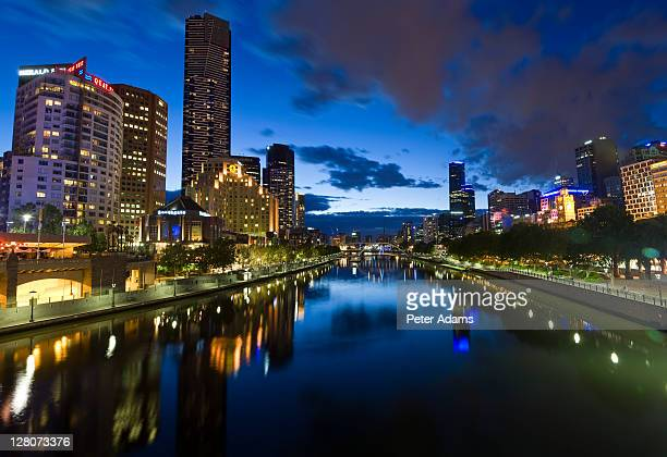 Yarra River at dusk, Victoria, Melbourne, Australia