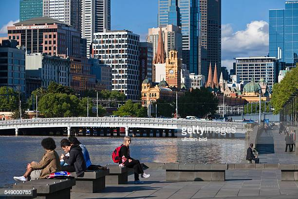 Yarra River with Queensbridge in Melbourne's central business district