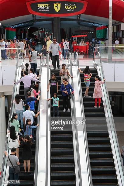 Yas Mall shopping centre on Yas Island in Abu Dhabi Escalators United Arab Emirates