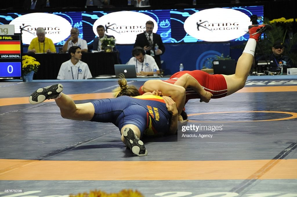 Yasemin Adar of Turkey and Maider Audicana of Spain compete in their women's 75kg Freestyle wrestling first round match during the Wrestling World...