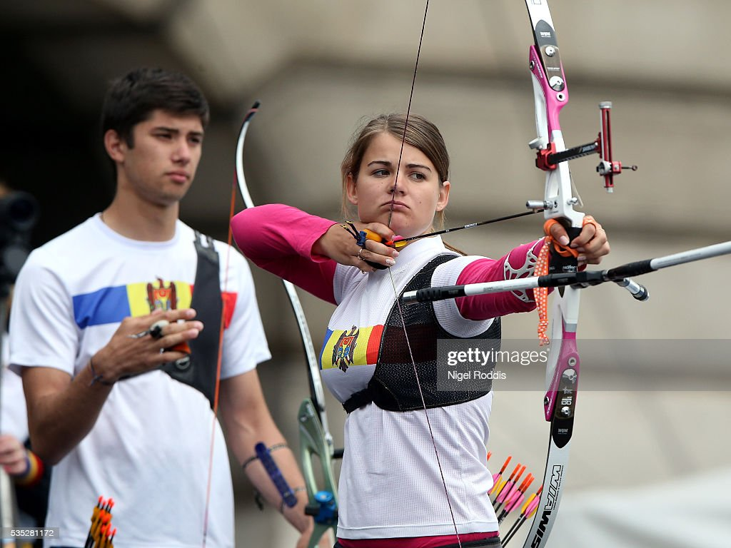 Yasemin Anagoz of Turkey shoots during the Mixed Recurve Bronze medal team match at the European Archery Championship on May 29, 2016 in Nottingham, England.