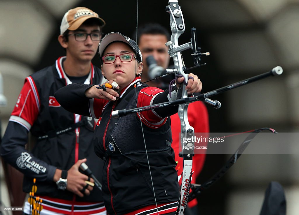 Yasemin Anagoz of Turkey shoots during the Mixed Recurve Gold medal team match at the European Archery Championship on May 29, 2016 in Nottingham, England.