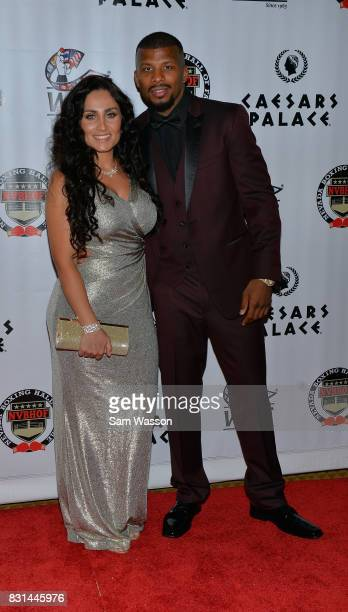 Yasemin Jack and her husband boxer Badou Jack arrive at the fifth annual Nevada Boxing Hall of Fame induction gala at Caesars Palace on August 12...
