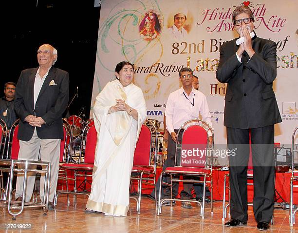 Yash Chopra Lata Mangeshkar and Amitabh Bachchan at veteran singer Lata Mangeshkar's birthday concert in Mumbai on Wednesday night