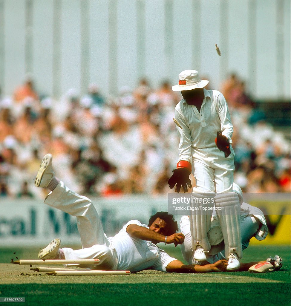 Yashpal Sharma and Syed Kirmani of India collide with David Gower of England during a runout attempt in the 2nd Prudential Trophy One Day...