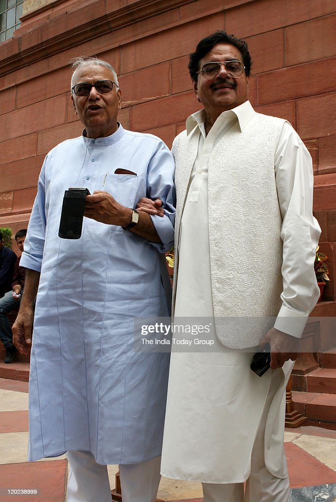 Yashwant Sinha and Shatrughan Sinha arrive for the monsoon session at the Parliament.
