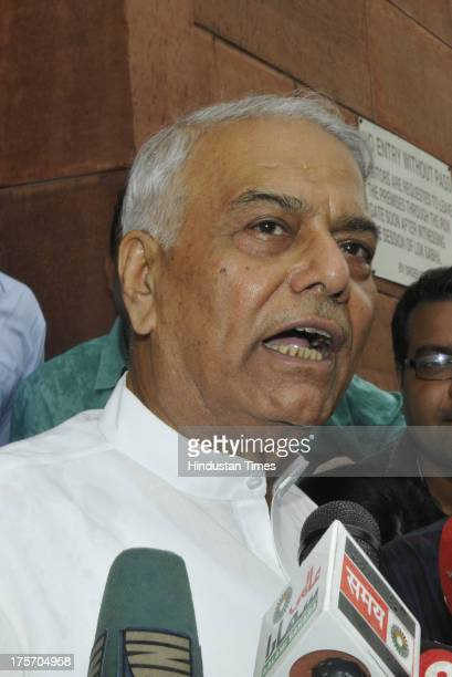 Yashwant Sinha talking to media after attending the Parliament Monsoon session at Parliament House on August 6 2013 in New Delhi India Day two of the...
