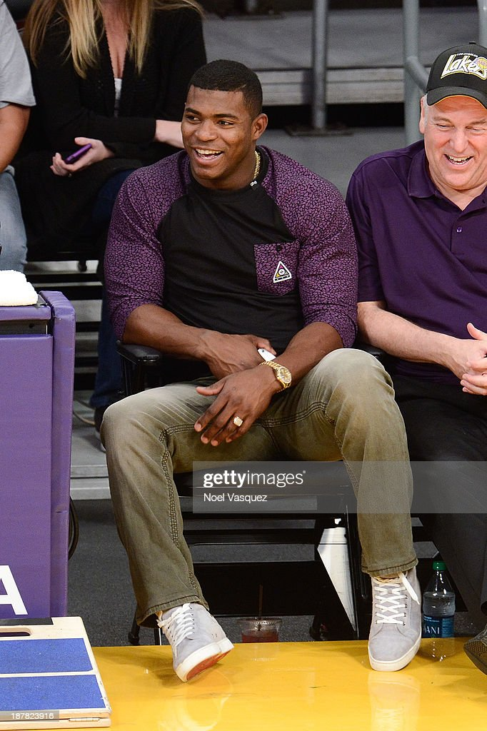 <a gi-track='captionPersonalityLinkClicked' href=/galleries/search?phrase=Yasiel+Puig&family=editorial&specificpeople=10484087 ng-click='$event.stopPropagation()'>Yasiel Puig</a> attends a basketball game between the New Orleans Pelicans and the Los Angeles Lakers at Staples Center on November 12, 2013 in Los Angeles, California.