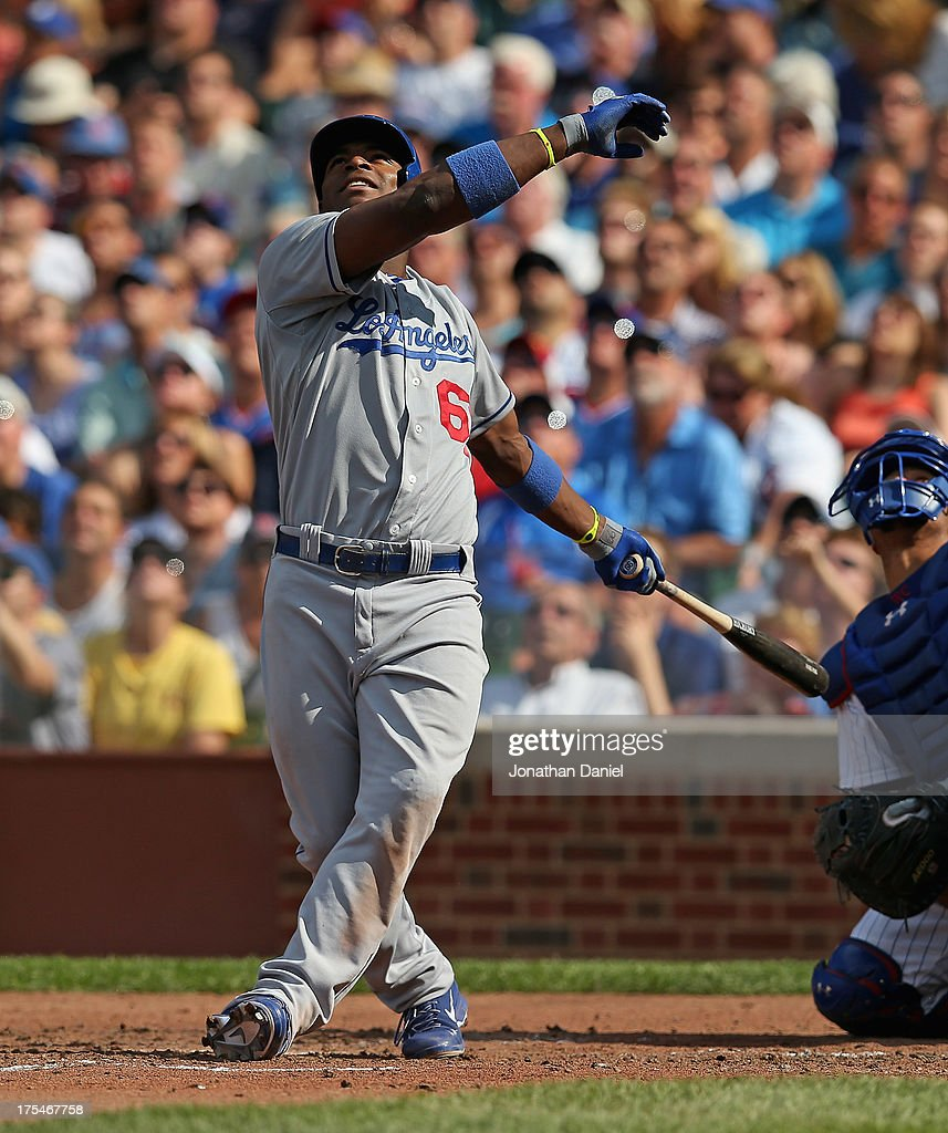 <a gi-track='captionPersonalityLinkClicked' href=/galleries/search?phrase=Yasiel+Puig&family=editorial&specificpeople=10484087 ng-click='$event.stopPropagation()'>Yasiel Puig</a> #66 of the Los Angeles Dodgers bats against the Chicago Cubs at Wrigley Field on August 3, 2013 in Chicago, Illinois. The Dodgers defeated the Cubs 3-0.