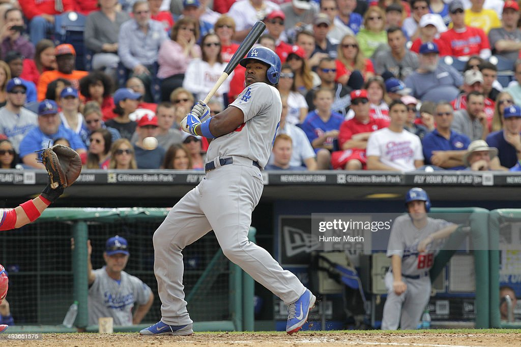 <a gi-track='captionPersonalityLinkClicked' href=/galleries/search?phrase=Yasiel+Puig&family=editorial&specificpeople=10484087 ng-click='$event.stopPropagation()'>Yasiel Puig</a> #66 of the Los Angeles Dodgers is brushed back by a pitch in the eighth inning during a game against the Philadelphia Phillies at Citizens Bank Park on May 24, 2014 in Philadelphia, Pennsylvania. The Phillies won 5-3.