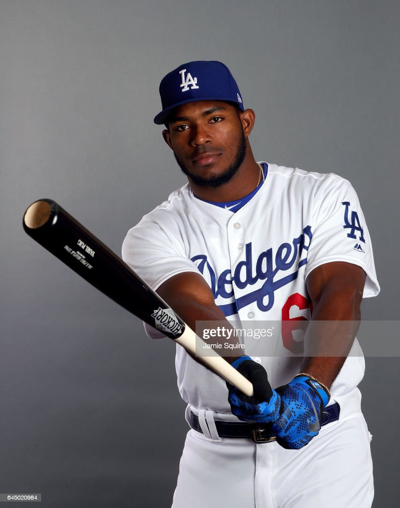 Yasiel Puig #66 of the Los Angeles Dodgers poses on Los Angeles Dodgers Photo Day during Sprint Training on February 24, 2017 in Glendale, Arizona.