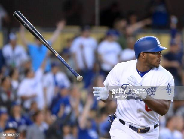 Yasiel Puig of the Los Angeles Dodgers reacts to his two run homerun to take a 31 lead over the Miami Marlins during the second inning at Dodger...