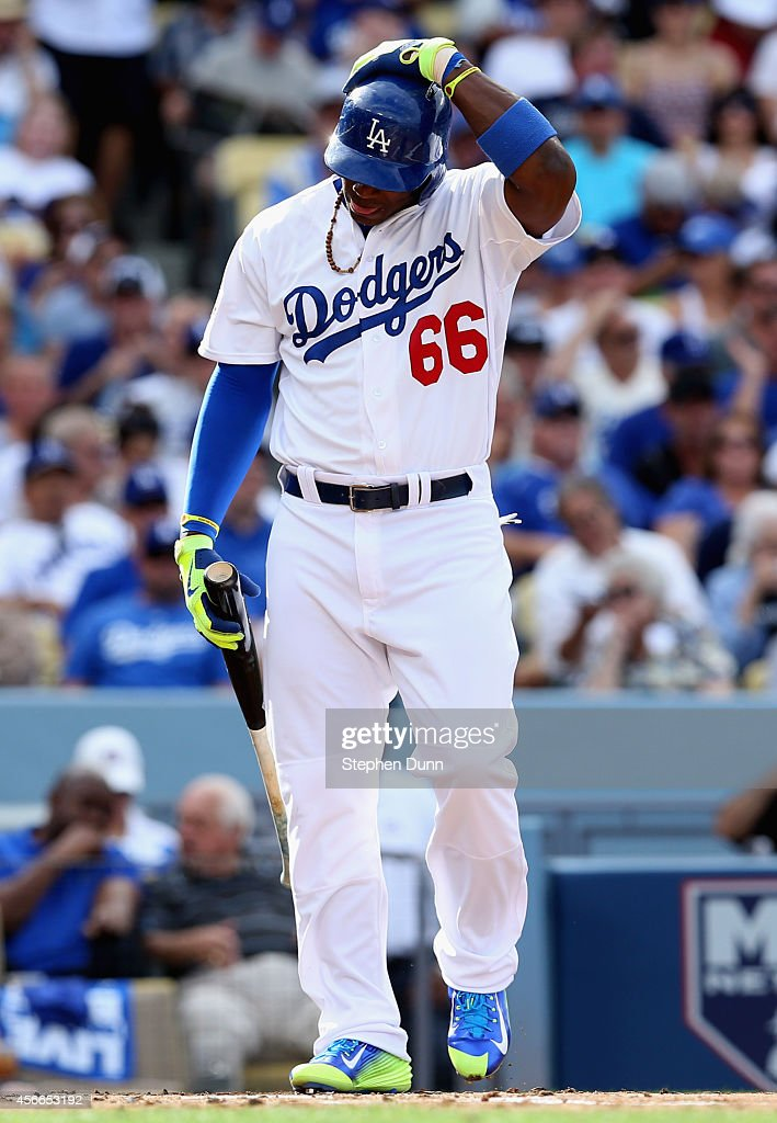 Yasiel Puig #66 of the Los Angeles Dodgers to bat against the St. Louis Cardinals during Game One of the National League Division Series at Dodger Stadium on October 3, 2014 in Los Angeles, California.