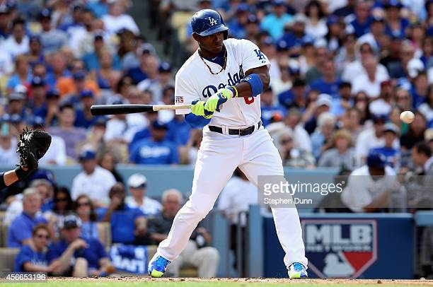 Yasiel Puig of the Los Angeles Dodgers to bat against the St Louis Cardinals during Game One of the National League Division Series at Dodger Stadium...