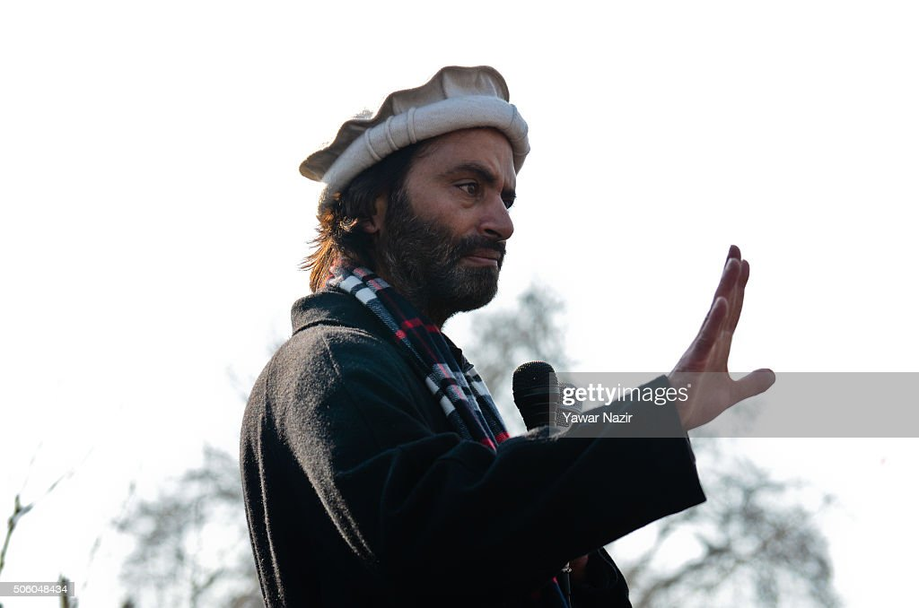 <a gi-track='captionPersonalityLinkClicked' href=/galleries/search?phrase=Yasin+Malik&family=editorial&specificpeople=691200 ng-click='$event.stopPropagation()'>Yasin Malik</a> chairman of Jammu and Kashmir Liberation Front a pro Kashmir resistance party addresses a gathering during a protest on the 26th anniversary of the 'Gaw Kadal' massacre on January 21, 2016 in Srinagar, the summer capital of Indian administered Kashmir, India. The day marks one of the bloodiest massacres carried out by Indian forces at the height of anti-India movement in Indian-administered Kashmir on January 21, 1990, when more than 50 people were killed and dozens wounded when Indian forces opened fire on a peaceful procession near the Gaw Kadal bridge in uptown Srinagar.
