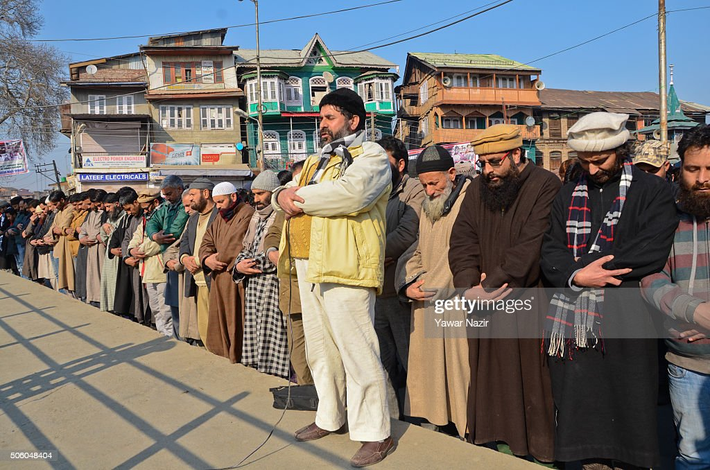 <a gi-track='captionPersonalityLinkClicked' href=/galleries/search?phrase=Yasin+Malik&family=editorial&specificpeople=691200 ng-click='$event.stopPropagation()'>Yasin Malik</a> (2nd-R) Chairman of the Jammu and Kashmir Libration Front a pro Kashmir resistance party along with many of his supporters offer funeral prayers in absentia, for the victims killed yesterday in an attack on the Bacha Khan University in northwest Pakistan, on the 26th during the anniversary of the 'Gaw Kadal' massacre on January 21, 2016 in Srinagar, the summer capital of Indian administered Kashmir, India. The day marks one of the bloodiest massacres carried out by Indian forces at the height of anti-India movement in Indian-administered Kashmir on January 21, 1990, when more than 50 people were killed and dozens wounded when Indian forces opened fire on a peaceful procession near the Gaw Kadal bridge in uptown Srinagar.