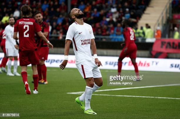 Yasin Oztekin of Galatasaray gestures during the UEFA Europa League 2nd Qualifying Round soccer match between Galatasaray and Ostersund FK at...