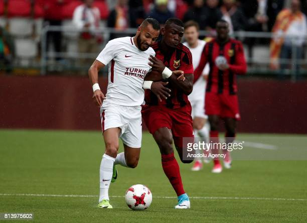 Yasin Oztekin of Galatasaray in action against Alhaji Gero during the UEFA Europa League 2nd Qualifying Round soccer match between Galatasaray and...