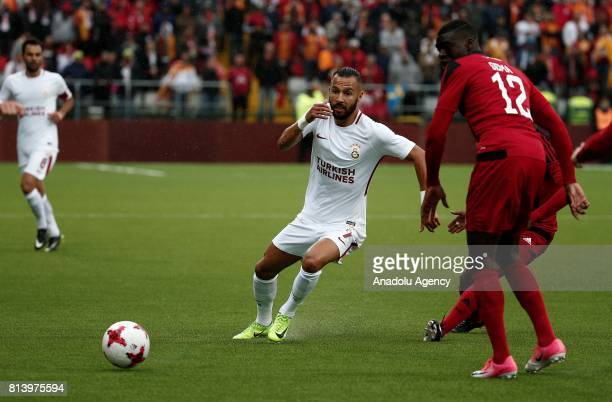 Yasin Oztekin of Galatasaray in action against Ken Sema during the UEFA Europa League 2nd Qualifying Round soccer match between Galatasaray and...