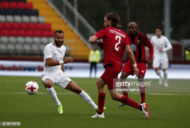 Yasin Oztekin of Galatasaray in action against Tom Pettersson during the UEFA Europa League 2nd Qualifying Round soccer match between Galatasaray and...