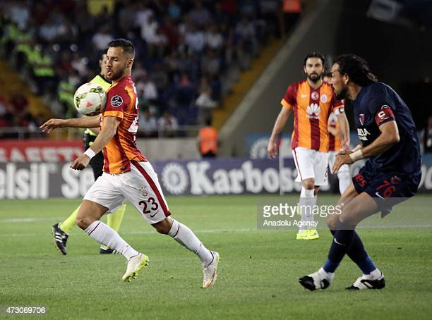 Yasin Oztekin of Galatasaray in action during the Turkish Spor Toto Super League football match between Mersin Idmanyurdu and Galatasaray at Mersin...