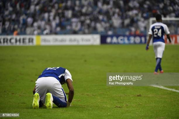 Yasir Al Shahrani of AlHilal reacts after the 11 draw in the AFC Champions League Final 2017 first leg between AlHilal and Urawa Red Diamonds at King...