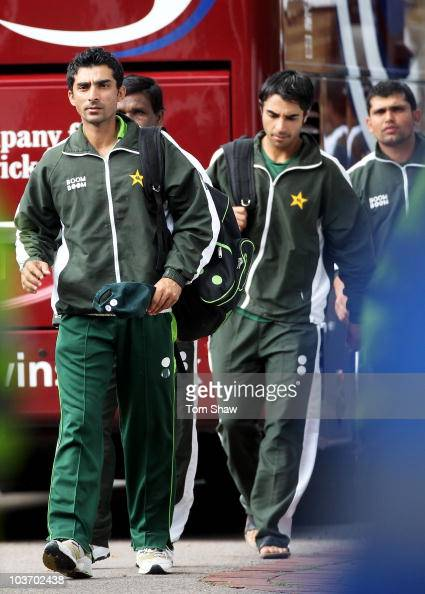 Yasir Hameed capatin Salman Butt and wicketkeeper Kamran Akmal of Pakistan arrive ahead of day four of the 4th npower Test Match between England and...