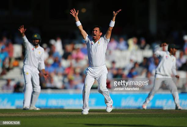 Yasir Shah of Pakistan appeals during day three of the 4th Investec Test between England and Pakistan at The Kia Oval on August 13 2016 in London...