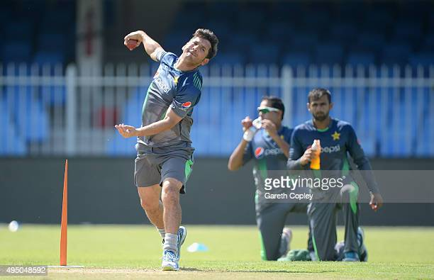 Yasir Shah of Pakistan bowls during a nets session at Sharjah Cricket Stadium on October 31 2015 in Sharjah United Arab Emirates