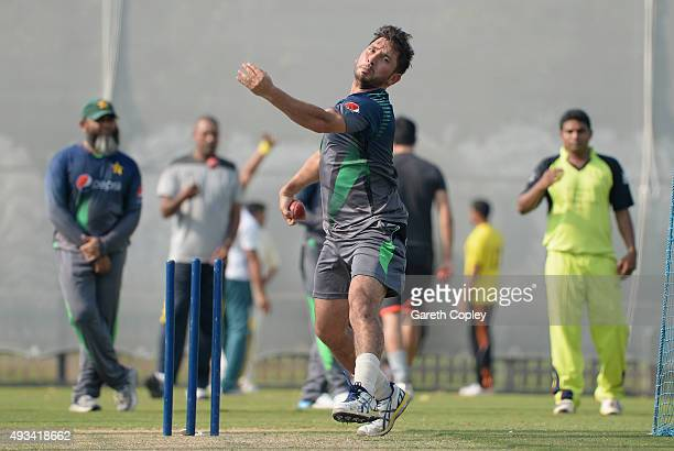 Yasir Shah of Pakistan bowls during a nets session at the ICC Cricket Academy on October 20 2015 in Dubai United Arab Emirates