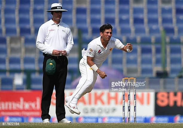 Yasir Shah of Pakistan bowls during Day Five of the Second Test between Pakistan and West Indies at Zayed Cricket Stadium on October 25 2016 in Abu...