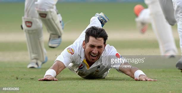 Yasir Shah of Pakistan celebrates dismissing Adil Rashid of England to win the 2nd test match between Pakistan and England at Dubai Cricket Stadium...