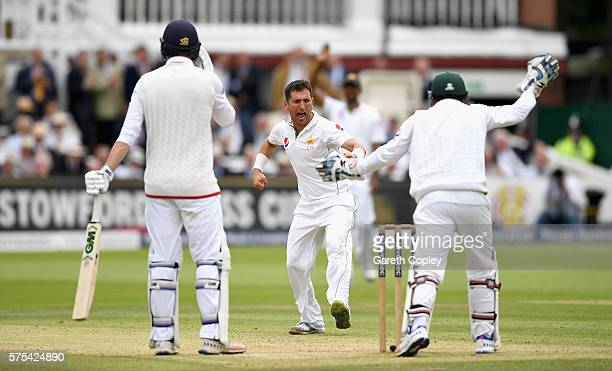Yasir Shah of Pakistan celebrates dismissing James Vince of England during day two of the 1st Investec Test between England and Pakistan at Lord's...