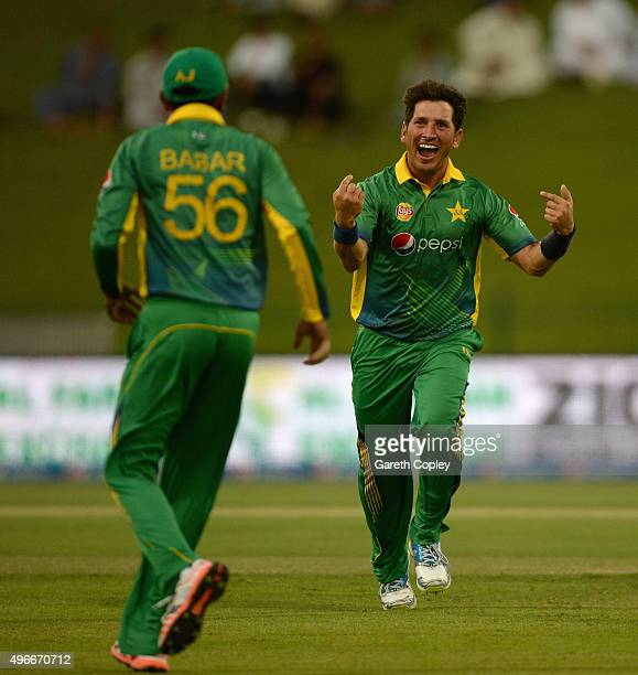 Yasir Shah of Pakistan celebrates dismissing Moeen Ali of England during the 1st One Day International between Pakistan and England at Zayed Cricket...