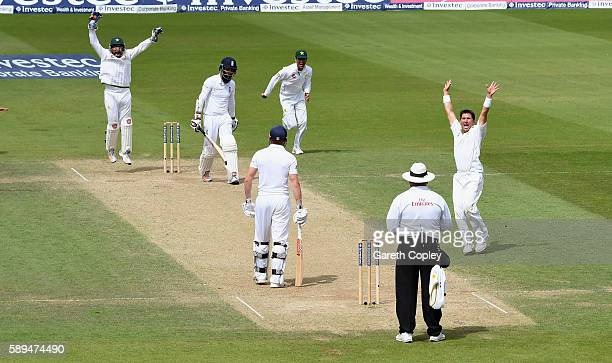 Yasir Shah of Pakistan celebrates dismissing Moeen Ali of England during day four of the 4th Investec Test between England and Pakistan at The Kia...