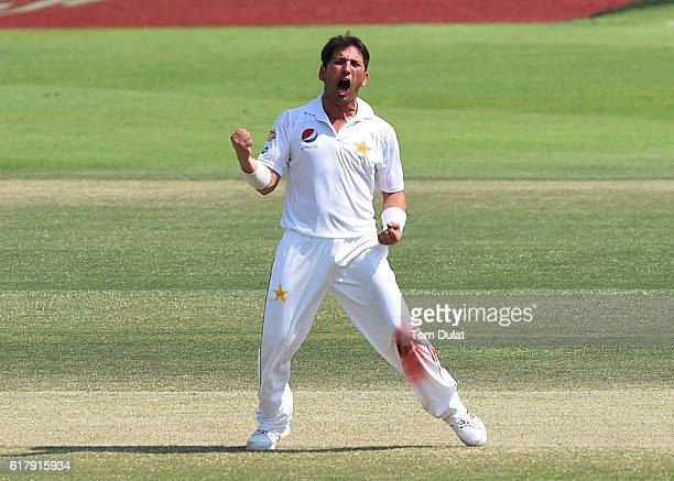 Yasir Shah of Pakistan celebrates taking the wicket of Jermaine Blackwood of West Indies during Day Five of the Second Test between Pakistan and West...
