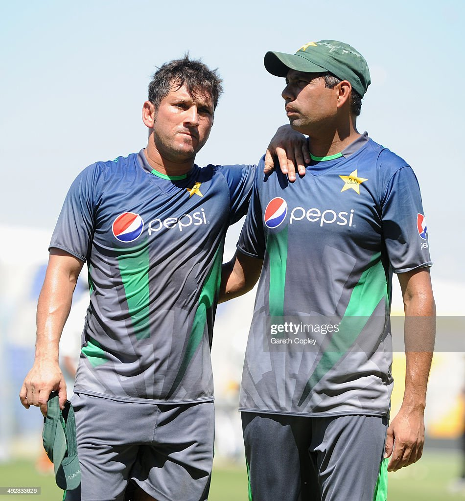 Yasir Shah of Pakistan leaves the field after picking up an injury during a nets session at Zayed Cricket Stadium on October 12, 2015 in Abu Dhabi, United Arab Emirates.