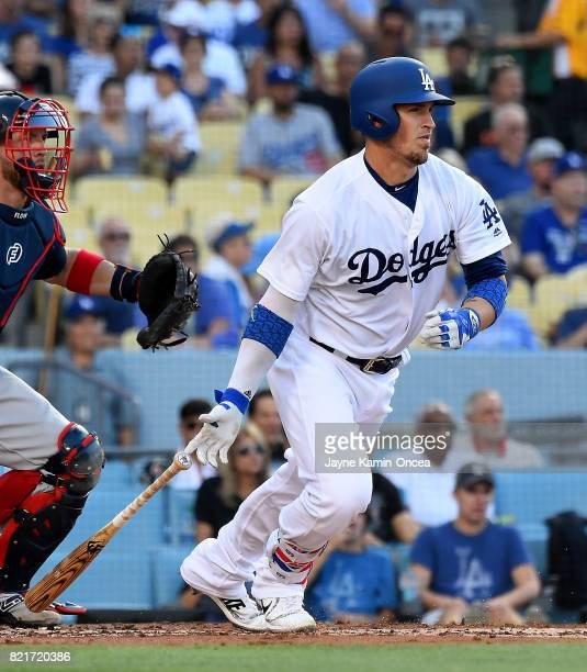 Yasmani Grandal of the Los Angeles Dodgers at bat the game against the Atlanta Braves at Dodger Stadium on July 22 2017 in Los Angeles California