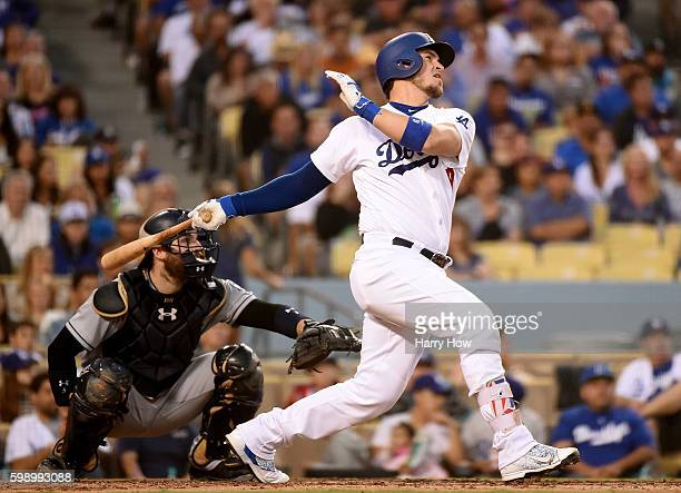 Yasmani Grandal of the Los Angeles Dodgers hits a three run homerun to take a 40 lead over in front of Derek Norris of the San Diego Padres during...