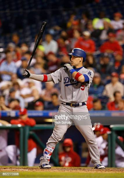Yasmani Grandal of the Los Angeles Dodgers in action during a game against the Philadelphia Phillies at Citizens Bank Park on September 19 2017 in...