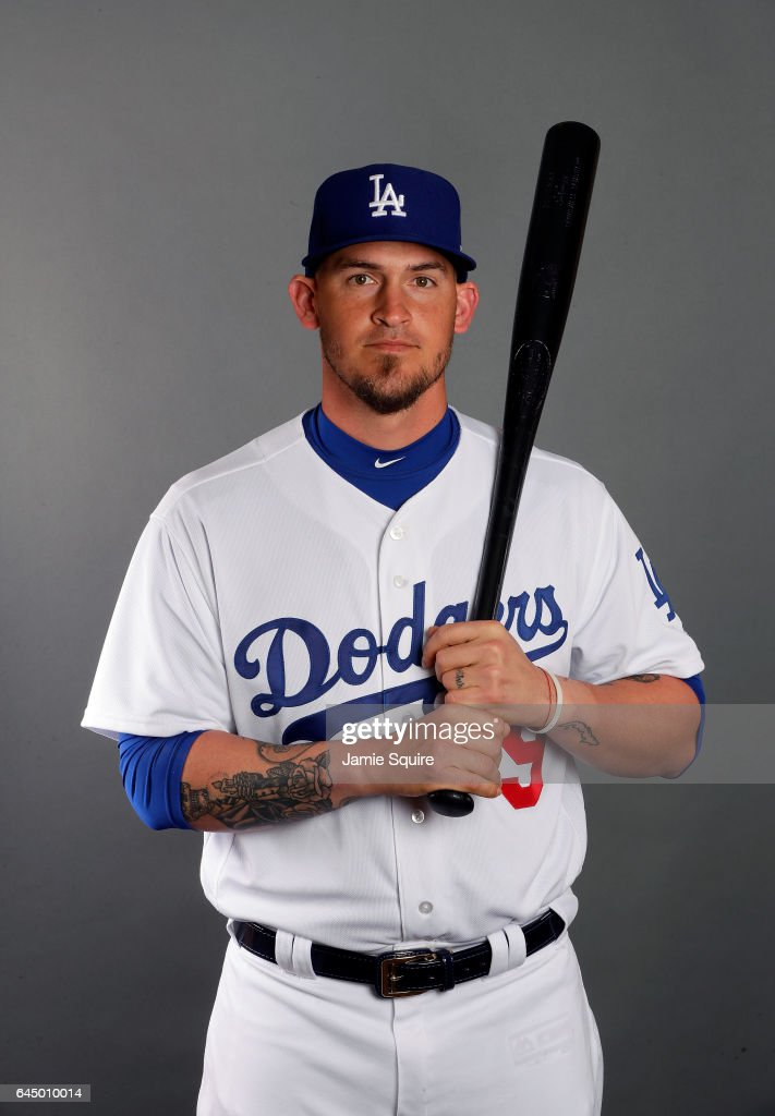 Yasmani Grandal #9 of the Los Angeles Dodgers poses on Los Angeles Dodgers Photo Day during Sprint Training on February 24, 2017 in Glendale, Arizona.