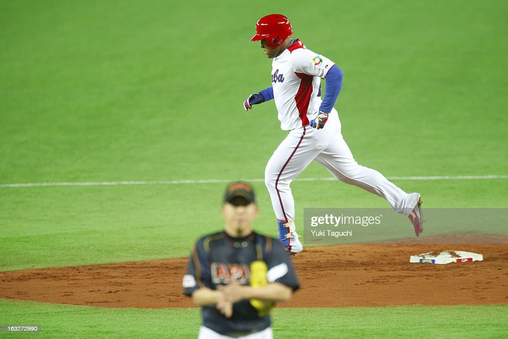 Yasmany Tomas #27 of Team Cuba runs the bases after hitting a solo home run in the bottom of the third inning during Pool A, Game 6 between Team Japan and Team Cuba during the first round of the 2013 World Baseball Classic at the Fukuoka Yahoo! Japan Dome on March 6, 2013 in Fukuoka, Japan.