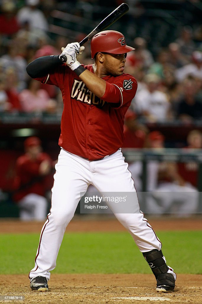 Yasmany Tomas #24 of the Arizona Diamondbacks bats against the Colorado Rockies during the fifth inning of a MLB game at Chase Field on April 29, 2015 in Phoenix, Arizona.