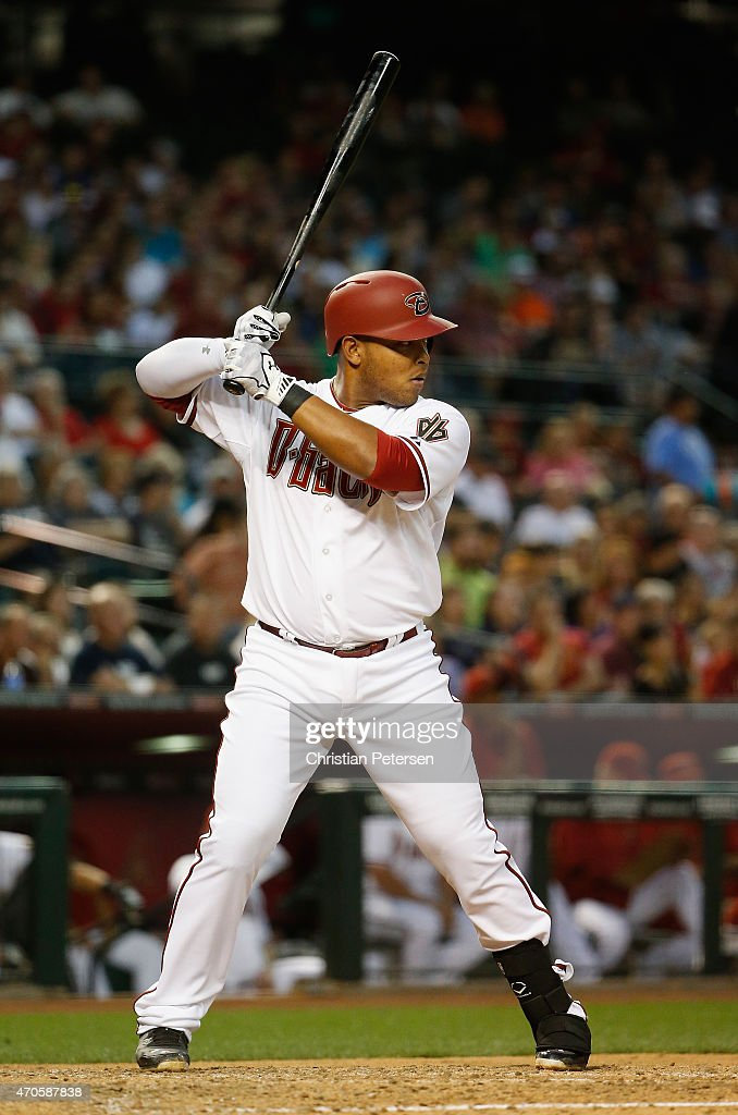 Yasmany Tomas #24 of the Arizona Diamondbacks bats against the Texas Rangers during the second inning of the MLB game at Chase Field on April 21, 2015 in Phoenix, Arizona.